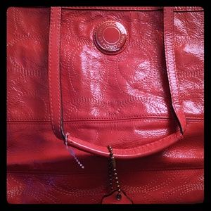 Tangerine Coach Patent leather tote